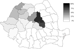 A magyar nemzetiségűek százalékos eloszlása Románia megyéiben