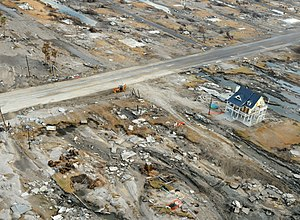 Hurricane Sandy evacuation more than a million homes in Northeast and an estimated $10 billion to $20 billion in damages - An aerial view of the damage Hurricane Ike inflicted upon Gilchrist, Texas