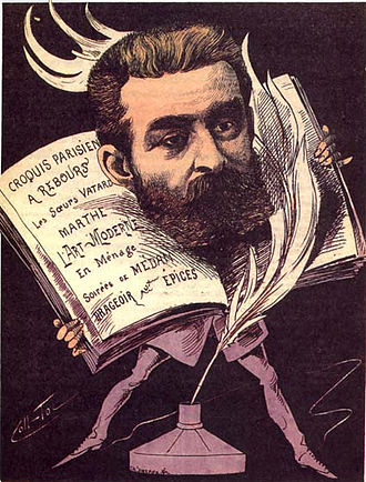 Joris-Karl Huysmans - A caricature showing Huysmans as a somewhat eccentric sort of literary dandy, by Coll-Toc, 1885