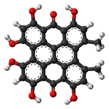 Ball-and-stick model of the hypericin molecule
