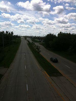 Illinois Route 59 - Facing south along Illinois Route 59, taken from the Illinois Prairie Path.