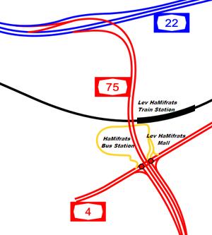 Highway 22 (Israel) - Image: I Ljunction kishon