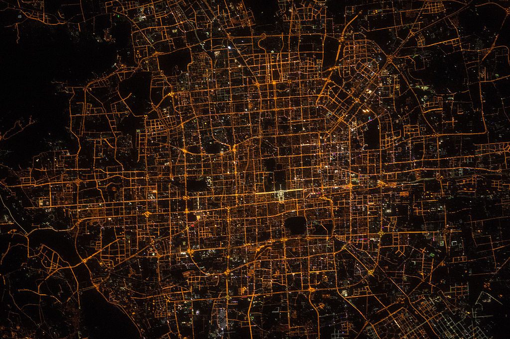 File Iss 47 Beijing China At Night Jpg Wikimedia Commons