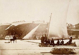 Ice boat - Ice boat on Saint Lawrence River, Quebec City, ca 1858-1860
