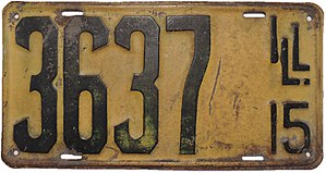 Vehicle registration plates of Illinois - Image: Illinois 1915 license plate