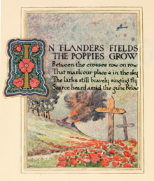 A page from a book.  The first stanza of the poem is printed above an illustration of a white cross amidst a field of red poppies while two cannons fire in the background.