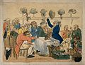 In a crowded salon, a wigmaker fits wigs according to occupa Wellcome V0011916.jpg