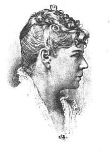 A monochrome engraving, bust portrait of a woman in her 40s or 50s, wearing a white blouse with a high, open collar made of lace, hair curled and secured atop the head, the woman shown in profile looking directly to the right
