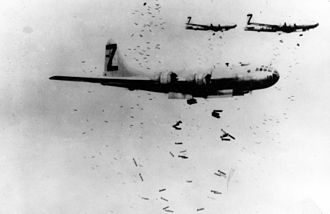 XXI Bomber Command - 500th Bombardment Group B-29s on an incendiary bomb drop over Japan, 1945