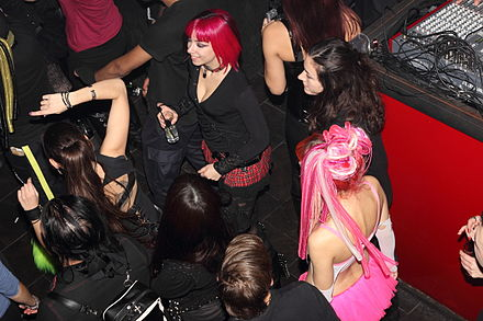 People dance at an industrial music event in a nightclub (Athens, 2012) Incubite music concert at Second Skin nightclub in Athens, Greece in February 2012 24.JPG