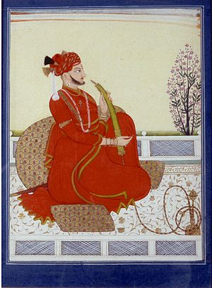 Sirmur State - Portrait of Maharaja Kirat Prakash of Sirmur. Late 18th century.