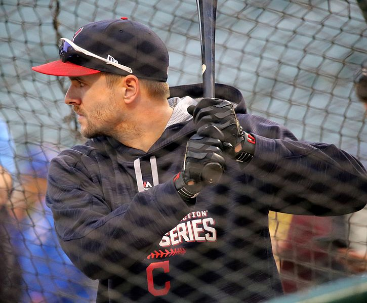 File:Indians outfielder Lonnie Chisenhall takes batting practice before World Series Game 6. (30086580383).jpg