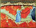 Inf. 10 Scuola lombarda, Dante e Virgilio davanti alle tombe infuocate degli Eresiarchi, Inferno Canto X, sec. XIV.jpg