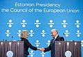 Informal meeting of defence ministers (FAC). Press conference Federica Mogherini and Jüri Luik (36895620686).jpg