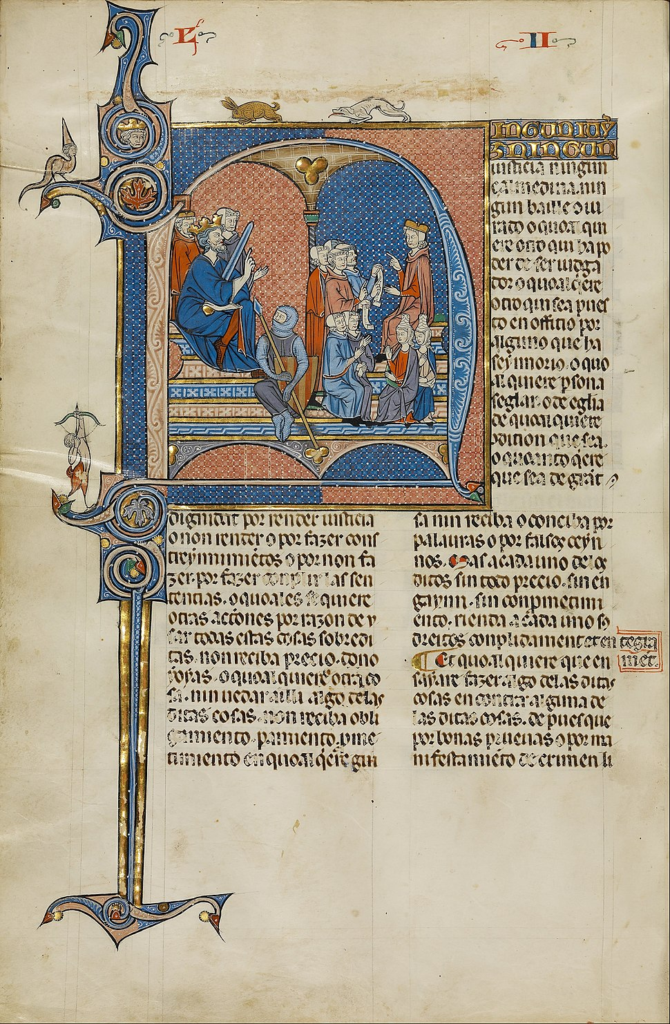 Initial N- James I of Aragon Overseeing a Court of Law - Google Art Project