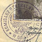 Ink stamp detail, Polish passport issued at Danzing, Gdansk (cropped).jpg
