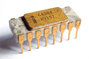Intel 4004 - White ceramic Intel C4004 microprocessor with grey traces