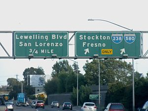 Interstate 238 - Overhead signage along southbound I-880 marking the exit for I-238