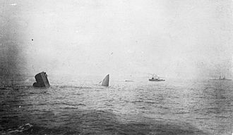 HMS Invincible (1907) - The two shattered halves of Invincible temporarily standing on the seabed