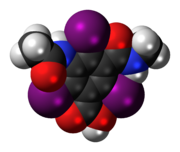 Space-filling model of the iotalamic acid molecule