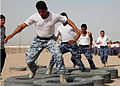 Iraqi Police and Border Patrol officers run through an obstacle course at the police academy in Basra, Iraq, May 4, 2011 110504-YD132-A-023.jpg