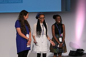 June Eric-Udorie - Isabelle Higgins, June Nwando Eric-Udorie, and Tiseke Chilima, the young moderators of Girl Summit 2014