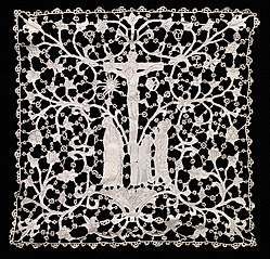 Needlepoint (Venetian Flat Point) Lace Ecclesiastical Square
