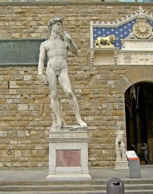 Replicas of Michelangelo's David - Replica of David in the sculpture's original position, in front of the Palazzo della Signoria, Florence