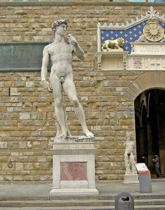 Replicas of Michelangelo's David - Replica of David in the sculpture's original position, in front of the Palazzo della Signoria, Florence
