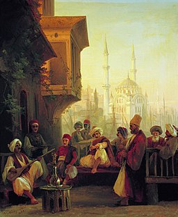 Ivan Constantinovich Aivazovsky - Coffee-house by the Ortaköy Mosque in Constantinople