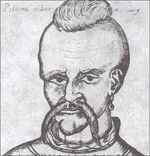 Ioan Potcoavă - The only known portrait of Ivan Pidkova, printed in Polish album in the 17th century