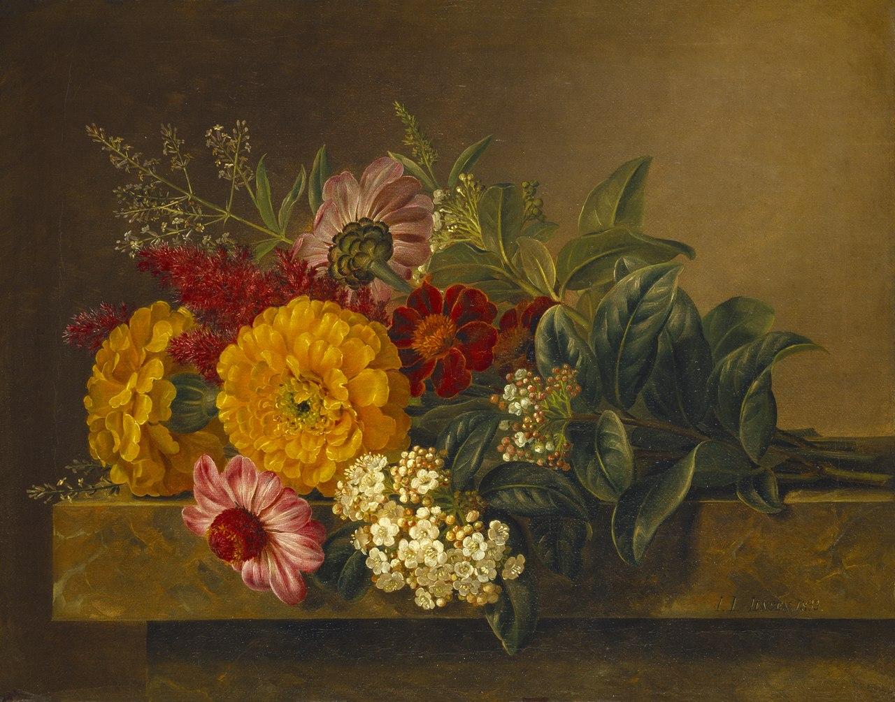 J.L. Jensen, Nature morte med blomster på en marmorbordplade, 1833, B230, Thorvaldsens Museum.jpg