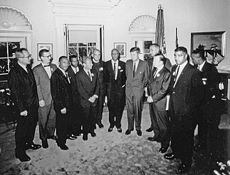 John Lewis (civil rights leader) - Civil rights leaders meet with President John F. Kennedy in the Oval Office of the White House after the March on Washington, D.C.. Left to Right – Willard Wirtz, Matthew Ahmann, Martin Luther King, Jr, John Lewis, Rabbi Joachin Prinz, Eugene Carson Blake, A. Philip Randolph, President John F. Kennedy, Vice President Lyndon Johnson, Walter Reuther, Whitney Young, Floyd McKissick. Not in order: Roy Wilkins. August 28, 1963