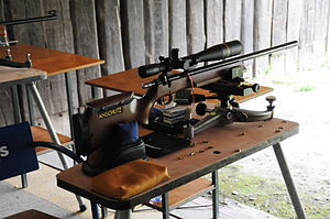 Benchrest shooting - An Anschütz 1903 .22 LR rifle Benchrest rifle used for BR50 competitions.