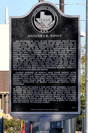J. D. Tippit - Texas historical marker at 10th Street and Patton Avenue in Dallas