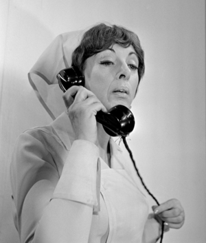Hetty Blok - Nurse Klivia on set, 1966. Photograph by A. Vente.