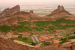 A view over Green Mubazzarah in Al-Ain, at the base of Jebel Hafeet (Mount Hafeet)