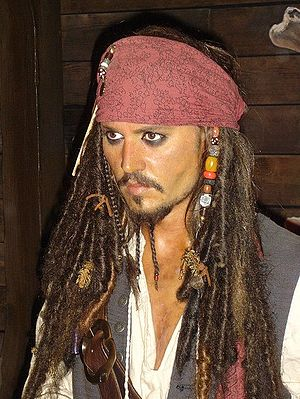 Jonny Depp as Captian Jack Sparrow in Madame T...