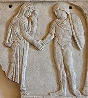 Jasão e Medeia juntam as suas mãos (dextrarum junctio). Tampa de sarcófago romano.