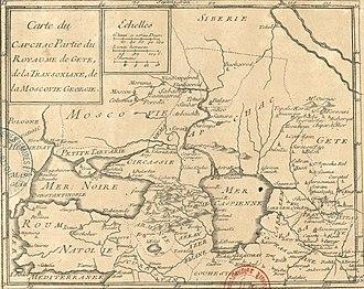 Jean-Baptiste Nolin - Image: Jean Baptiste Nolin. Carte du Capchac, partie du royaume de Gete, de la Transoxiane, de la Moscovie Géorgie. (17th century)