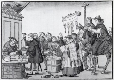 The Catholic sale of indulgences shown in A Question to a Mintmaker, woodcut by Jorg Breu the Elder of Augsburg, ca. 1530 Jeorg Breu Elder A Question to a Mintmaker c1500.png