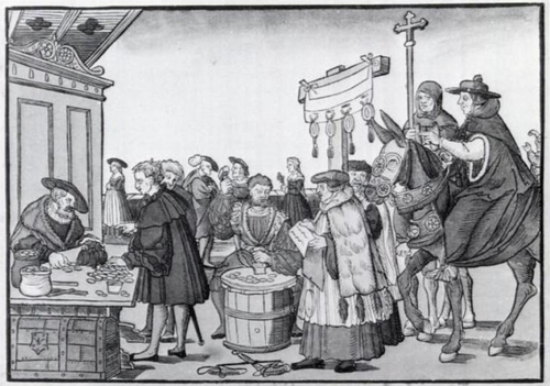 The sale of indulgences shown in A Question to a Mintmaker, woodcut by Jorg Breu the Elder of Augsburg, circa 1530. Jeorg Breu Elder A Question to a Mintmaker c1500.png