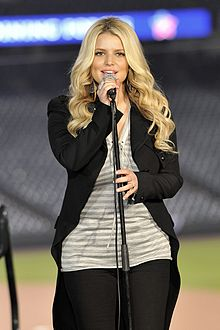 "Simpson performing ""God Bless America"" at the ""Joining Forces with the Rockies: Celebrating Military Families"" event in Denver, on April 13, 2011."