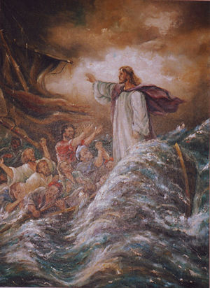 Jesus with his disciples on the Sea of Galilee...
