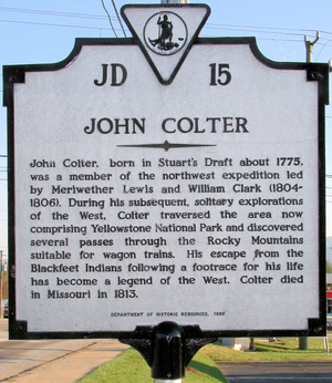 John Colter - John Colter historical marker, located in Stuarts Draft, Augusta County, Virginia