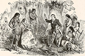 Massachusett - A depiction from 1919 of Eliot preaching to the Indians.  Eliot played a primary role in developing the written language and introducing the Indians to Christianity and literacy, preserving the language but destroying aspects of traditional culture.
