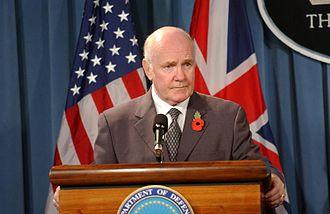 John Reid, Baron Reid of Cardowan - Reid answers questions at a Pentagon briefing on 7 November 2005.
