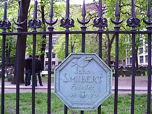 John Smybert - Plaque at Granary Burying Ground in Boston commemorating Smybert