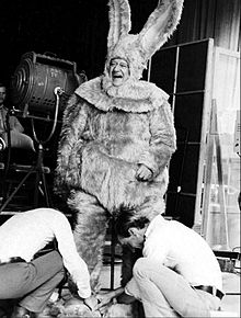 John Wayne Being Fitted For A Giant Bunny Costume 1972
