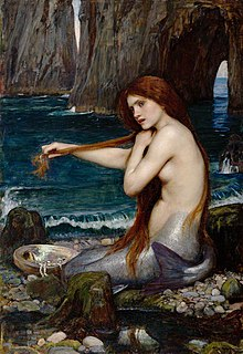 legendary aquatic creature with the upper body of a female human and the tail of a fish